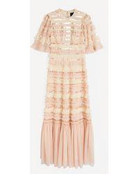 Needle & Thread Nancy Stripe Frill Gown - Multicolour