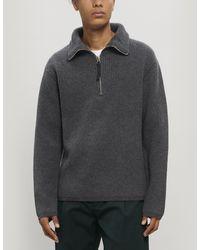 Acne Studios Korman Half-zip Wool-blend Jumper - Grey