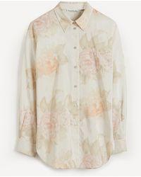 Acne Studios Long-sleeved Stripe Floral Shirt - Natural