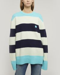 Acne Studios Oversized Striped Jumper multi Turquoise - Blue
