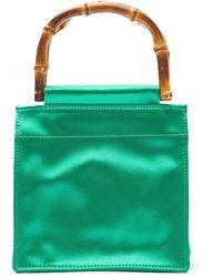 Hai Bamboo Handle Silk Bag - Green