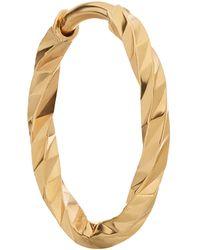 Maria Black Gold Diamond Cut Huggie Hoop Earring - Metallic