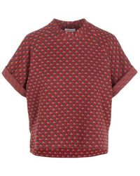 Rosetta Getty Triangle Jacquard Cocoon Top - Red