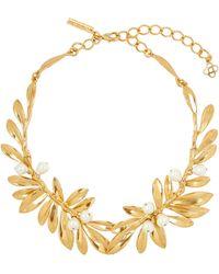 Oscar de la Renta Gold-tone Faux Pearl Leaf Necklace - Metallic