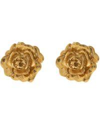 Alex Monroe Gold-plated Rose Damasca Stud Earrings - Metallic