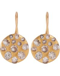 Polly Wales - Rose Gold Celeste White Sapphire Crystal Disc Earrings - Lyst