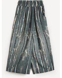 Crea Concept Wide Crop Pull-on Trousers - Multicolour