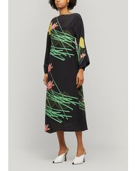BERNADETTE Lily Floral-print Silk-crepe Dress - Black