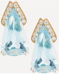 Kojis Gold 20ct Aquamarine And Diamond Earrings - Metallic