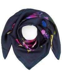 Paul Smith Floral Silk Scarf - Blue