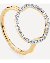 Monica Vinader Gold Plated Vermeil Silver Riva Diamond Circle Ring - Metallic