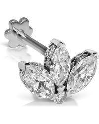 Maria Tash 3mm Mini Diamond Engraved Lotus Threaded Stud Earring - White