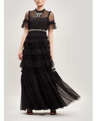 Needle & Thread Embellished Bow Maxi-dress - Black