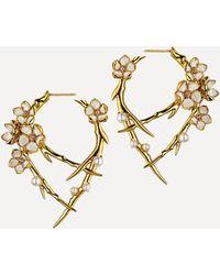 Shaun Leane Cherry Blossom Pearl And Diamond Flower Hoop Earrings - Metallic