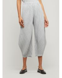 Pleats Please Issey Miyake Pinstripe Wide-leg Culottes - White
