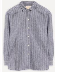 Barbour Alexandra Striped Cotton-linen Shirt - Blue