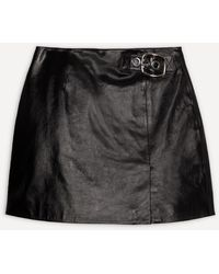 ALEXACHUNG Buckle Leather Mini-skirt - Black