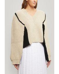 Maison Margiela Oversized Ribbed V-neck Sweater - Natural