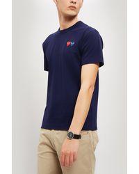 COMME DES GARÇONS PLAY Double Heart Badge T-shirt - Blue
