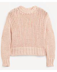 Officine Generale Salimah Open-knit Wool-mix Jumper - Pink