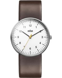 Braun Classic Stainless Steel Leather Strap Watch - Brown