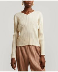 Pleats Please Issey Miyake Monthly Colors V-neck Top - Natural