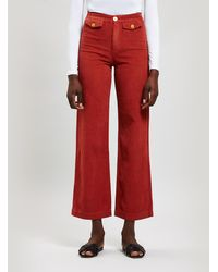 Paloma Wool Lagos Wide Leg Corduroy Trousers - Red