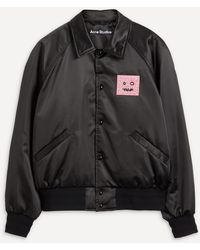 Acne Studios Face Satin Varsity Jacket - Black