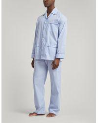 Derek Rose Core Piped Classic Fit Cotton Check Pajama Set - Blue