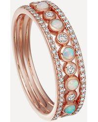 Astley Clarke Rose Gold Triple Icon Nova Opal Ring - Multicolour