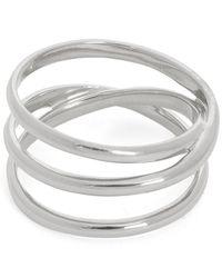 Maria Black White Rhodium-plated Emilie Wrap Ring - Metallic