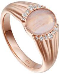Astley Clarke - Rose Gold Luna Lace Agate Sapphire Signet Ring - Lyst