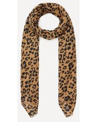 Lily and Lionel Floral Leopard Print Modal-blend Scarf - Natural