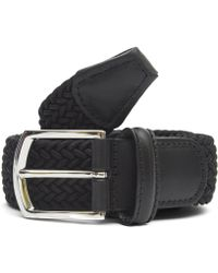 Andersons Leather Trimmed Elasticated Woven Belt - Black