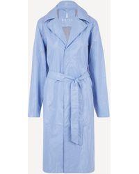 Rains City Belted Shiny Overcoat - Blue