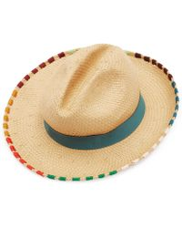 c35e91676bc Paul Smith - Woven Straw Hat With Multi-coloured Stitching - Lyst