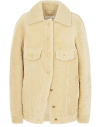 Chloé Soft Shearling Leather Jacket - Natural