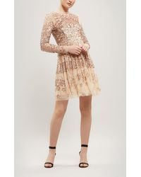 Needle & Thread - Aurora Ruffled Sequin-embellished Tulle Mini Dress - Lyst
