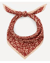 Lily and Lionel Floral Leopard Print Silk Necktie - Red