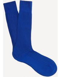 Pantherella Danvers Ribbed Socks - Blue