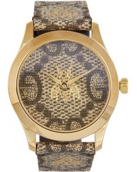 Gucci - G-timeless Leather Logo Bee Motif Watch - Lyst
