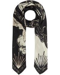 Lily and Lionel Mystic Palm Silk Habotai Scarf - Black