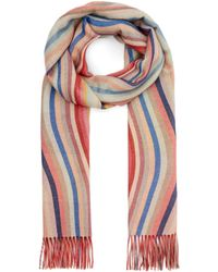 Paul Smith Swirl Stripe Reversible Wool Scarf - Multicolour