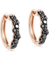 Astley Clarke Rose Gold Medium Interstellar Black Diamond Hoop Earrings - Metallic