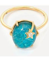 Andrea Fohrman Gold Mini Galaxy Chrysocolla And Diamond Star Ring - Metallic