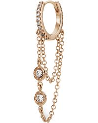 "Maria Tash 5/16"" Double Chain Diamond Eternity Hoop Earring - Multicolour"