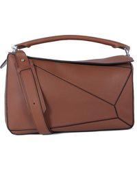 Loewe Puzzle Large Leather Shoulder Bag - Brown