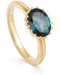 Astley Clarke Gold Plated Vermeil Silver Large Linia London Blue Topaz Ring - Metallic