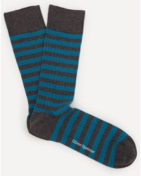 Oliver Spencer Miller Stripe Socks - Blue