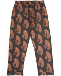 Desmond & Dempsey Sansindo Tiger Print Cotton Pyjama Trousers - Black